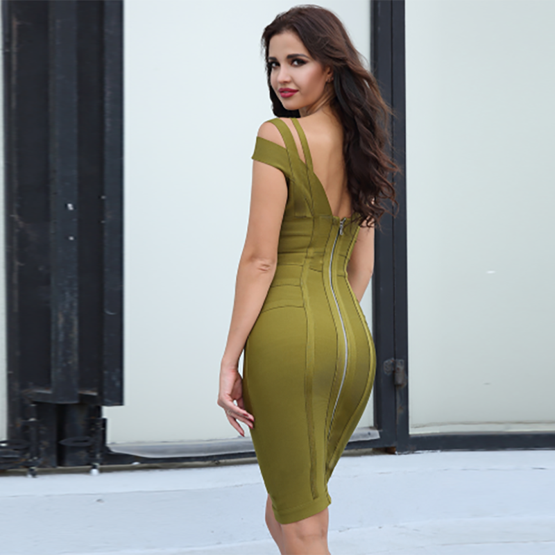 Celeb V Neck Bodycon Dress