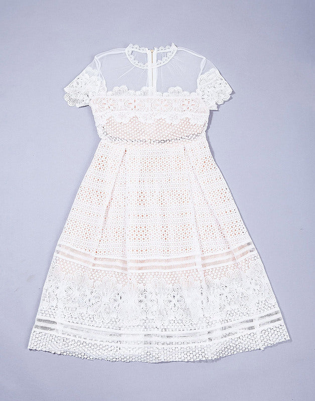Short Sleeves A Line Lace dress Good Qulity