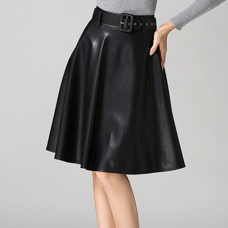 Grey A-Line PU Skirt