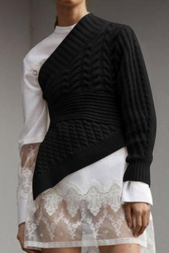 Fashion One Shoulder Knitted Top