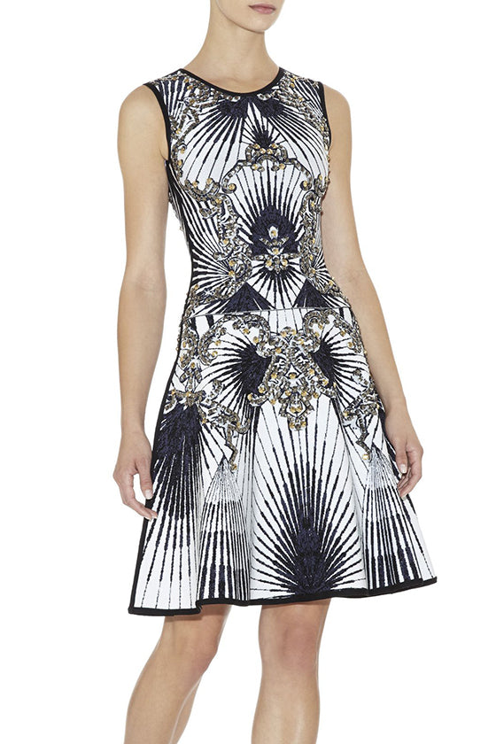 Mesh Sleeves Jacquard Bandage Dress