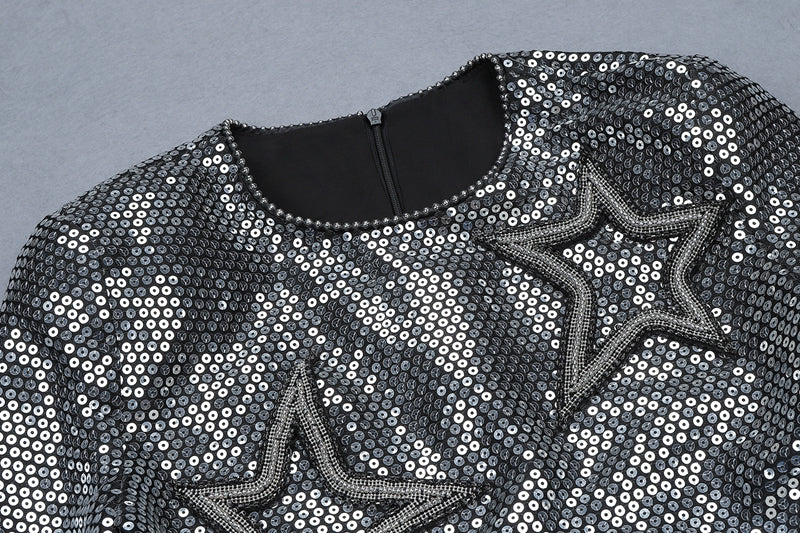 Midi Sleeves Sequined Party Mini Dress