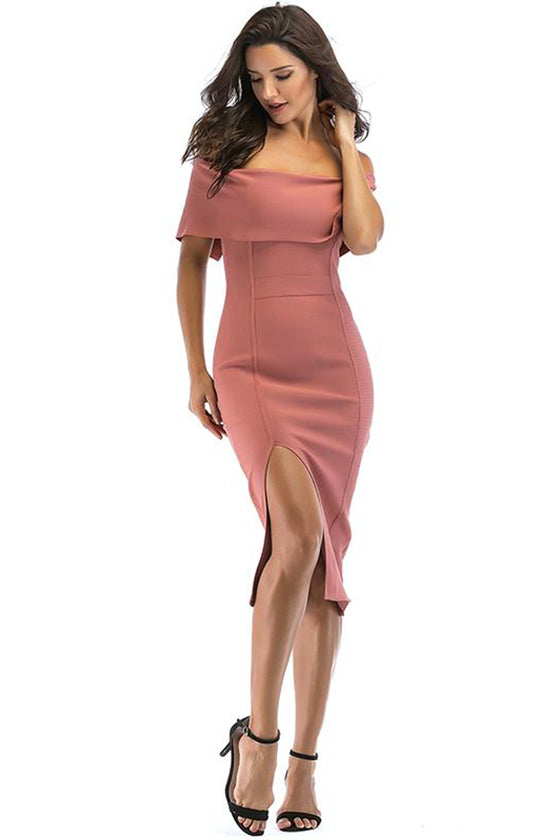 Off Shoulder Midi Bandage Dress