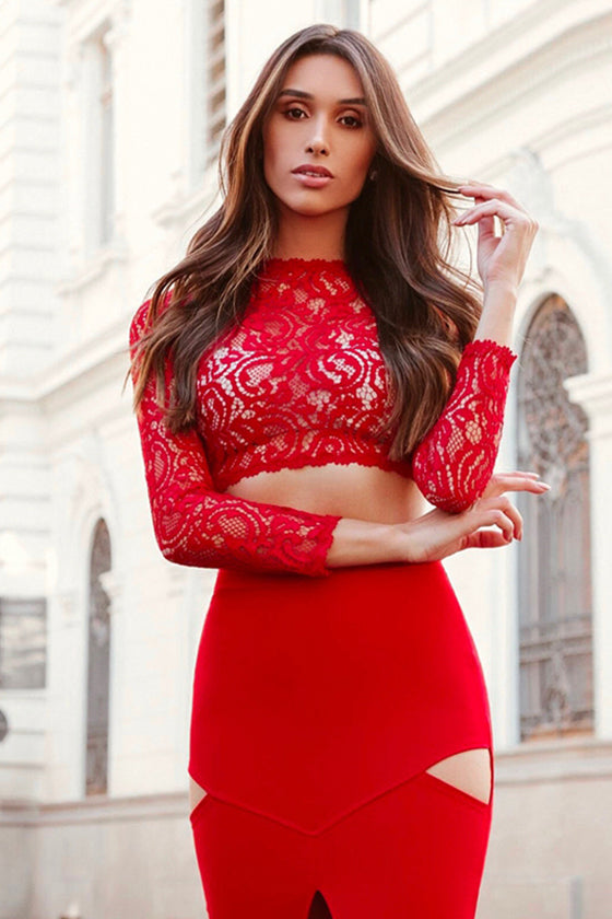 Two-Pieces Set Lace Sets Evening Party Club Dresses