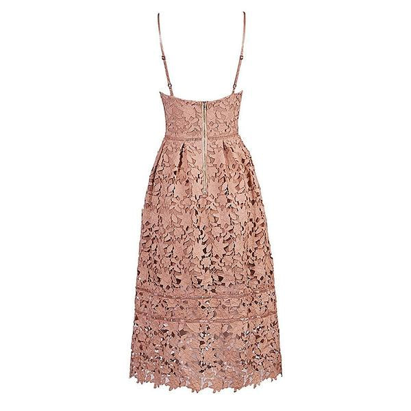 Pink V neck Lace Dress Nice Girl Party Dress