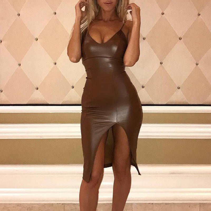 V neck Bodycon Leathery Dress Side Slip