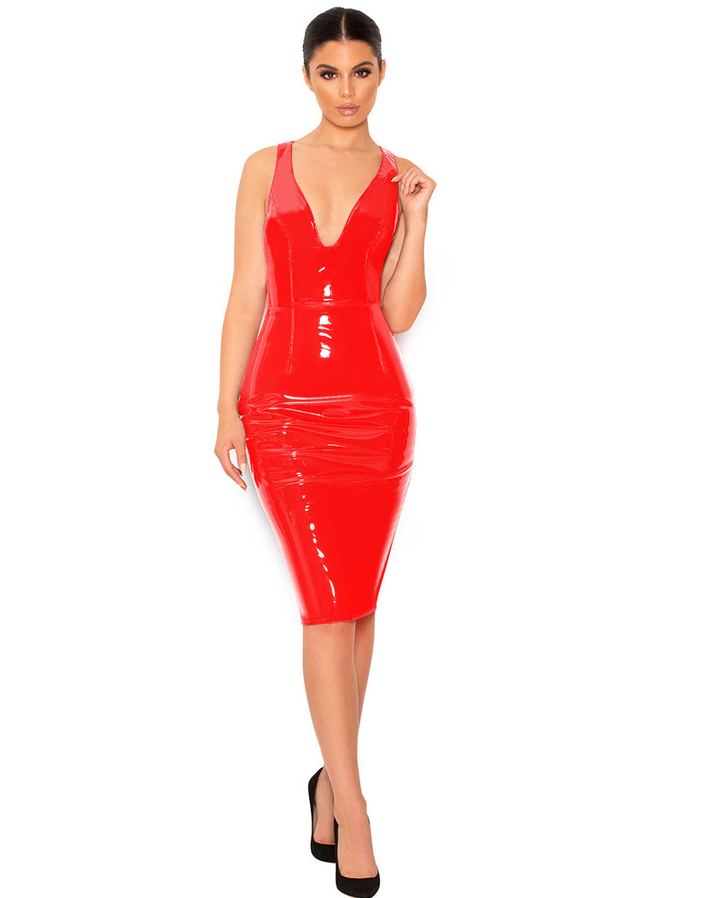 Deep V Sexy Shiny Leathery Bodycon Dress