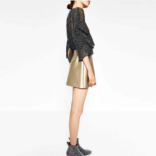 Golden Leather Skirt A line