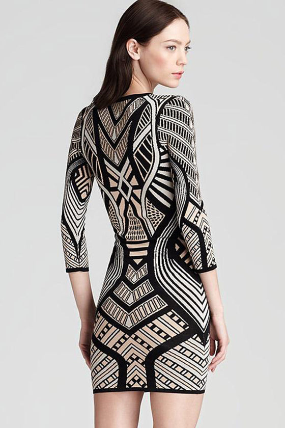 Mid-sleeves Jacquard Bodycon Dress