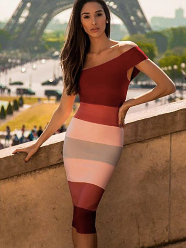 one shoulder multi color bandage dress off shoulder bodycon dress 5 star rayon bandage dress