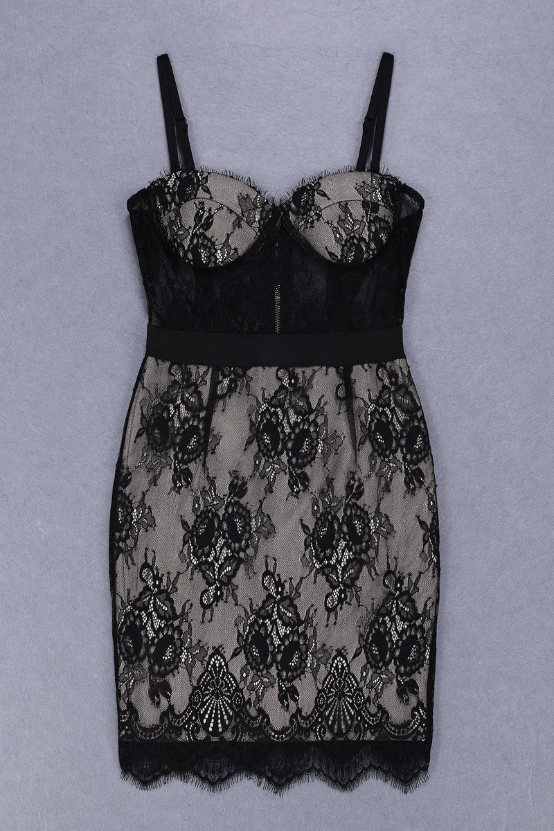 Trendy Lace Details Party Dress