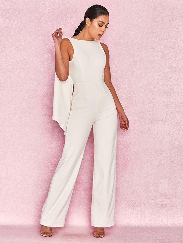 Backless Women White Jumpsuit