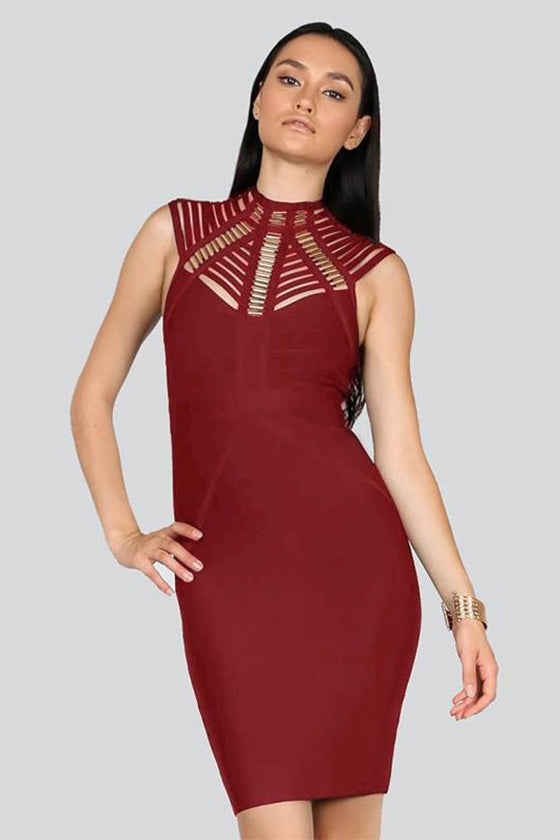 Bodycon Cut Out Metallic Tube Details Bandage Dress