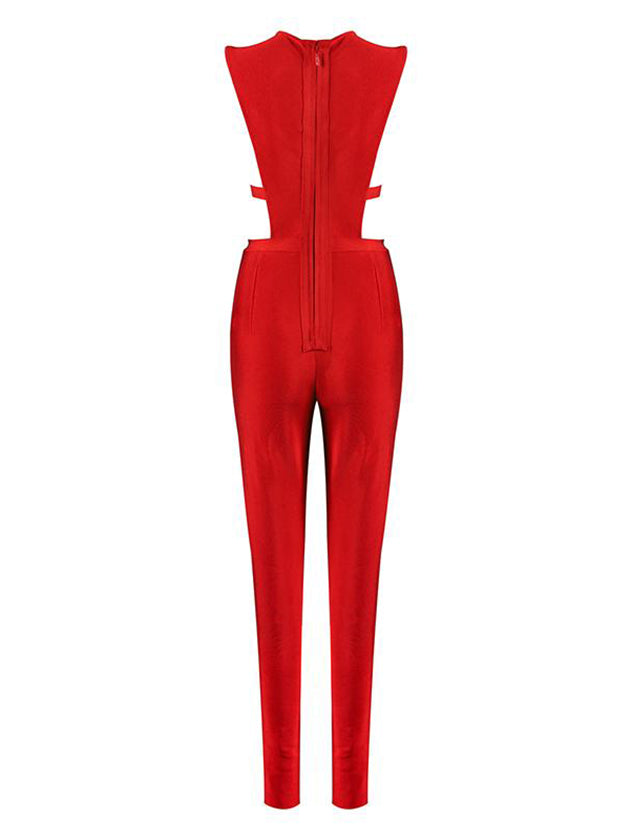 Cut Out Sexy Bodycon Bandage Jumpsuit