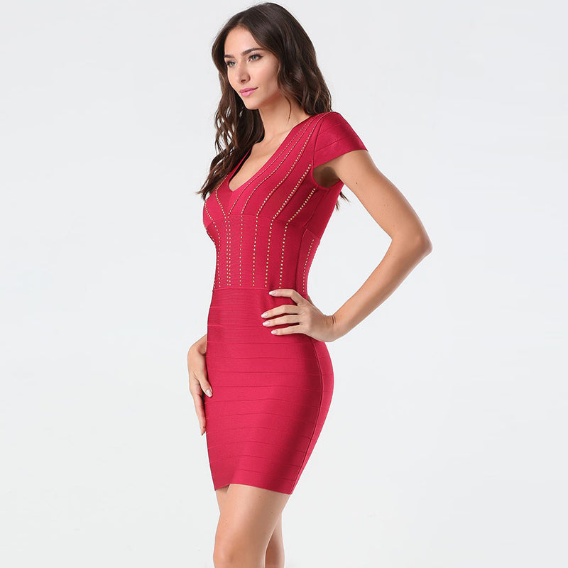 Red V Bandage Dress