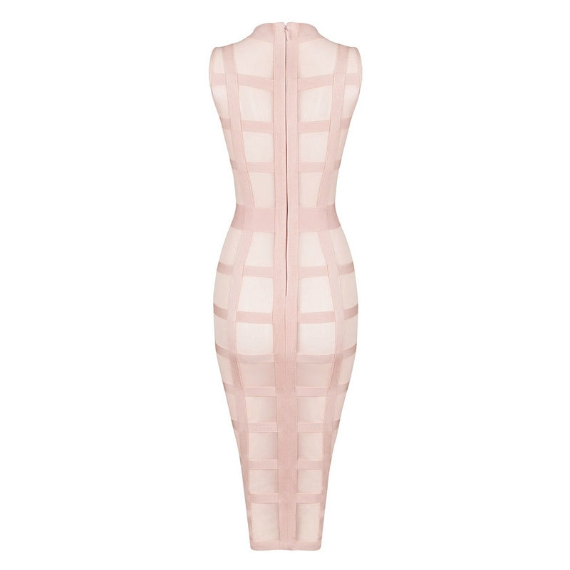 Nude See Through Bodycon Club Dress