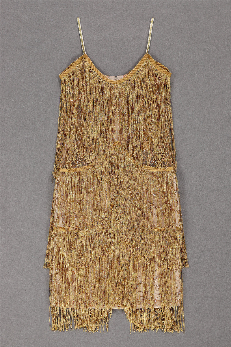 Gold Tassels Mini Party Dress