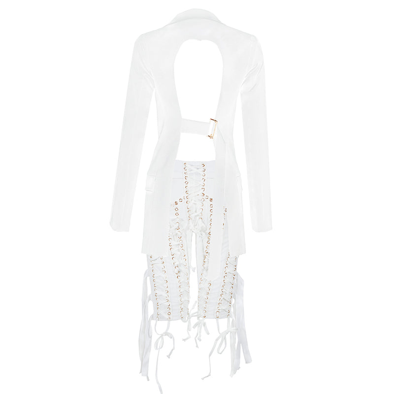White Blazer And Pants Suit Set Female