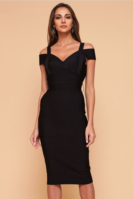 Wine Elegant Midi Bandage Dress