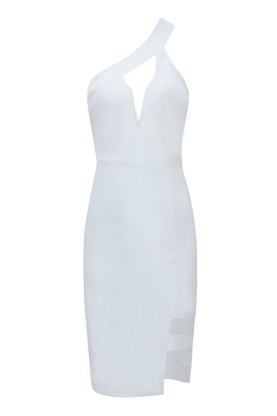 One Shoulder Cutout Bandage Dress White