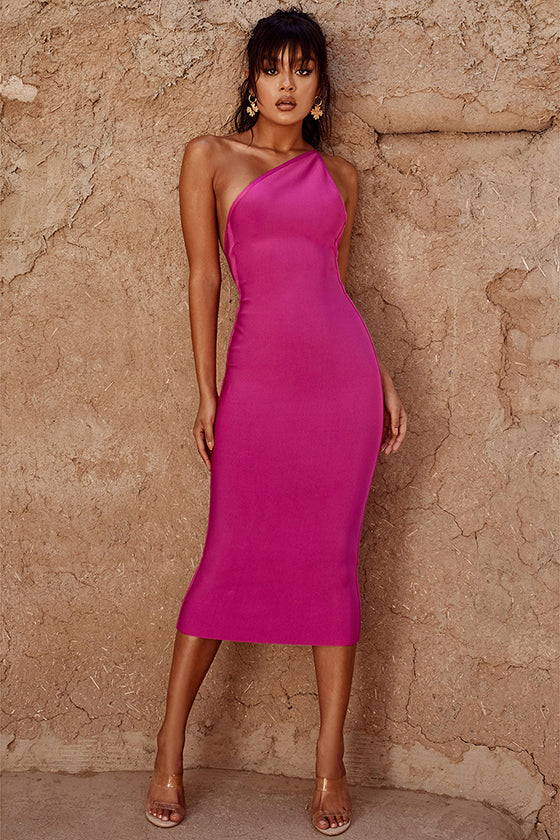 One Shoulder Pink Bandage Dress