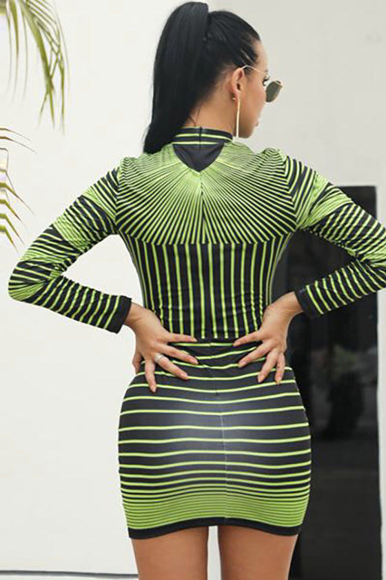 Chic Long Sleeves Patterned Bodycon Bandage Dress