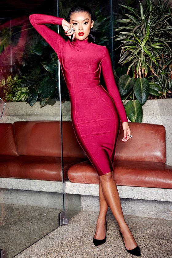 Long Sleeves Wine Bandage Midi Dress