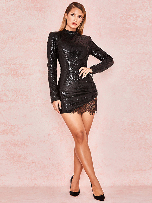 long sleeves sequin evening dress
