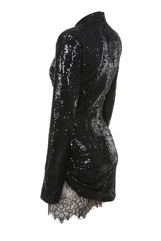 Black Long Sleeves Sequinned Mini Dress