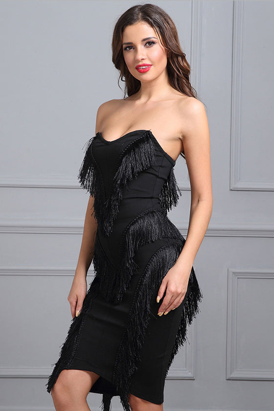 Off Shoulder Sexy Tassels Bandage Dress Black