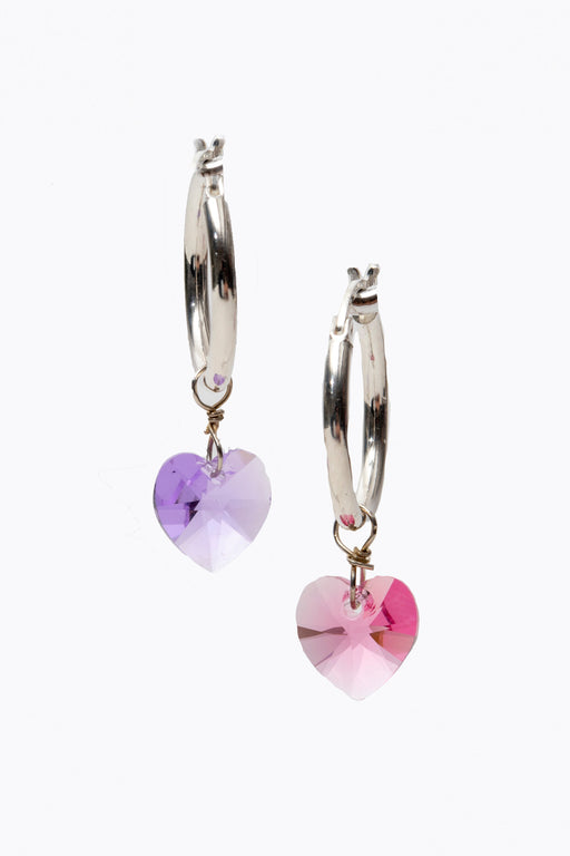 Shine Stone Heart Charm Hoops