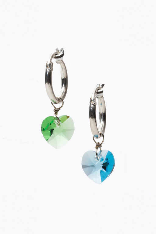 Shine Stone Heart Charm Tiny Hoops
