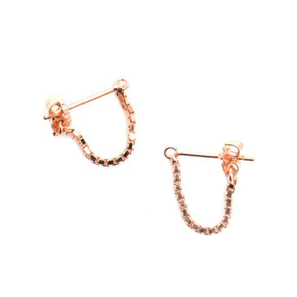 Box Chain Earrings 14K Rose Gold Plate - TUZA Jewelry