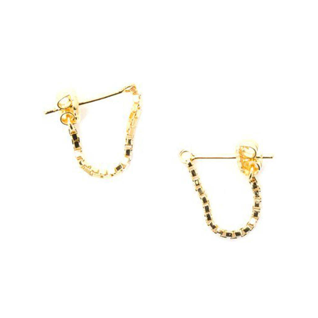 Box Chain Earrings 14K Yellow Gold Plate - TUZA Jewelry
