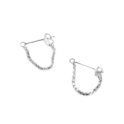 Box Chain Earrings Sterling Silver - TUZA Jewelry