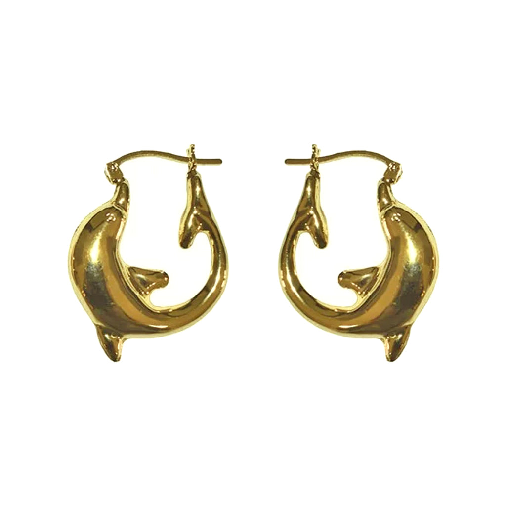 Dolphin Hoops 14K Yellow Gold - TUZA Jewelry