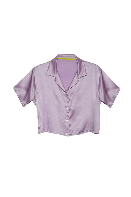 SILK CROPPED SHIRT LILAC