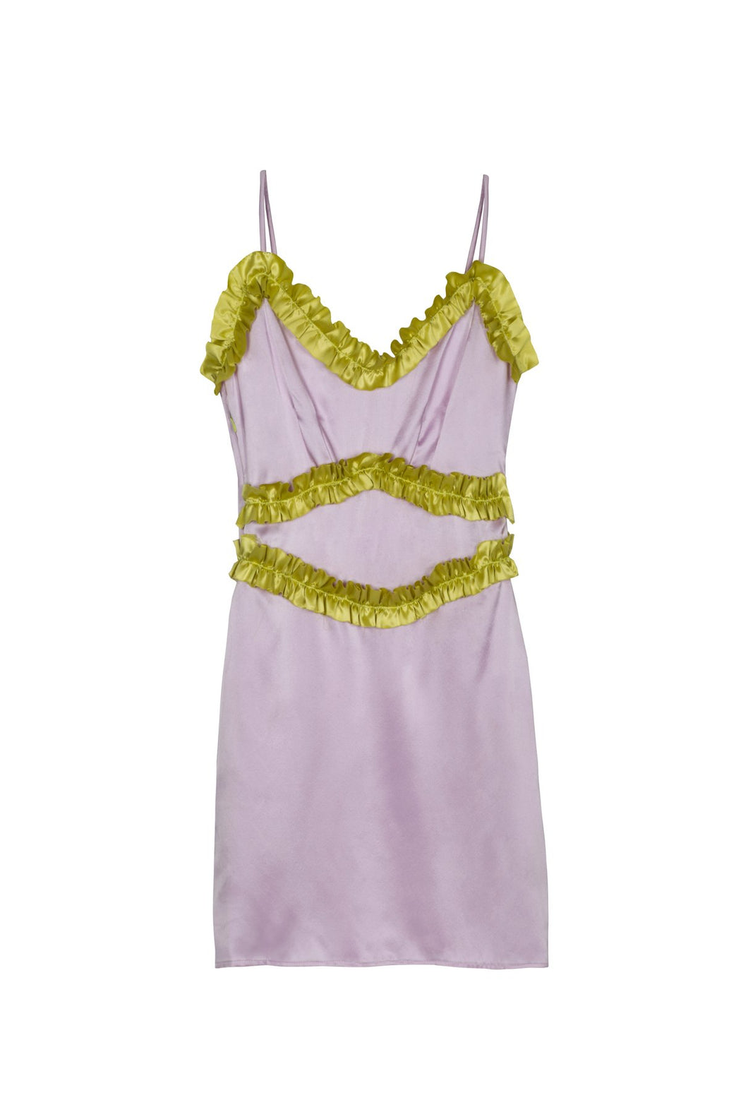 SILK SLIP DRESS W/ FRILLS
