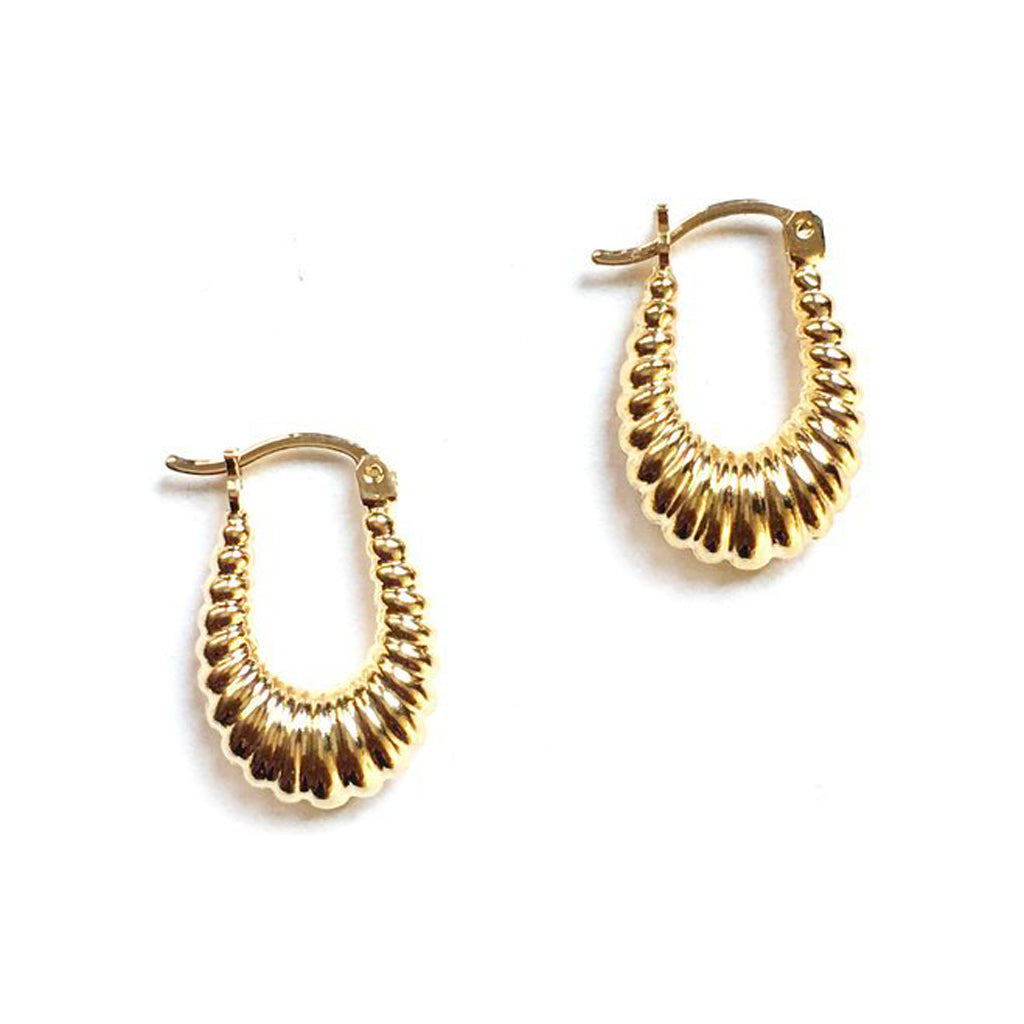 Masha Hoop Earrings 14K Yellow Gold Plate - TUZA Jewelry