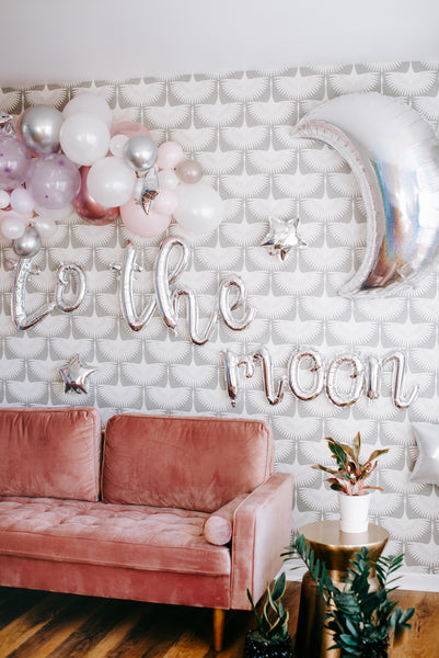 To the Moon Script Balloon Banner