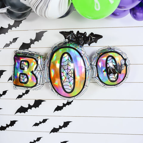 Iridescent BOO Bat Halloween Balloon