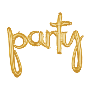 Party Script Balloon Banner | Gold