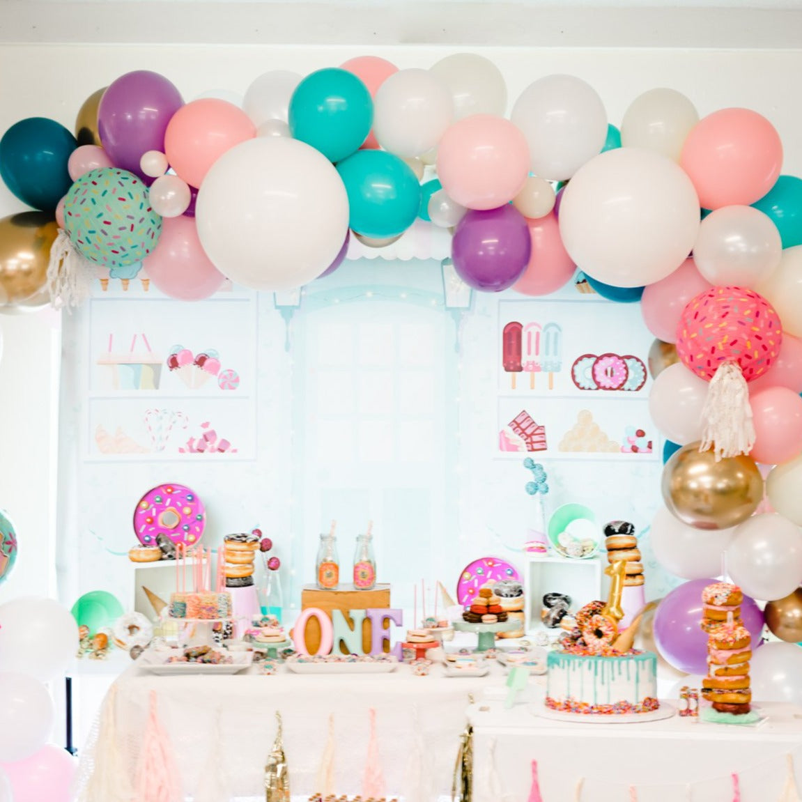DIY Donut Sprinkles Balloon Garland Arch