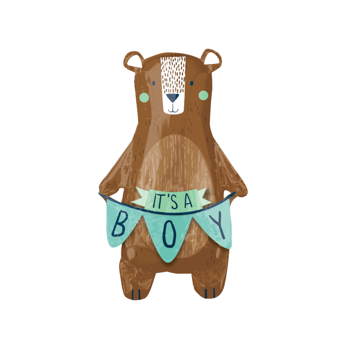 Woodland Bear Baby Boy Balloon