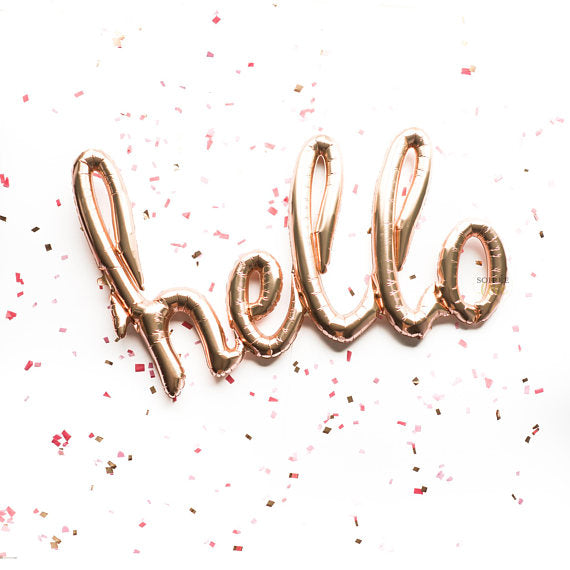 "Script Hello Balloon Banner | 47"" Rose Gold Balloon"