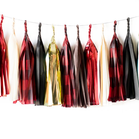 Buffalo | Buffalo Plaid Red Black Gold Paper Tassels