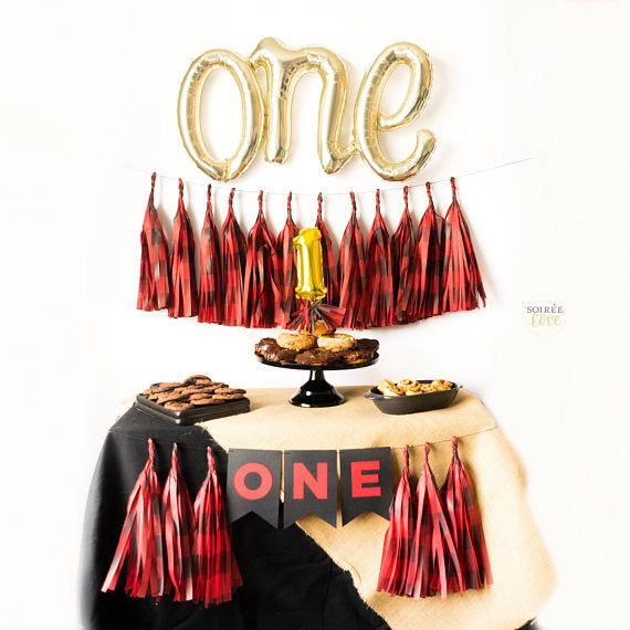 "Woodland ""ONE"" Script Balloon Tassel Party Box"