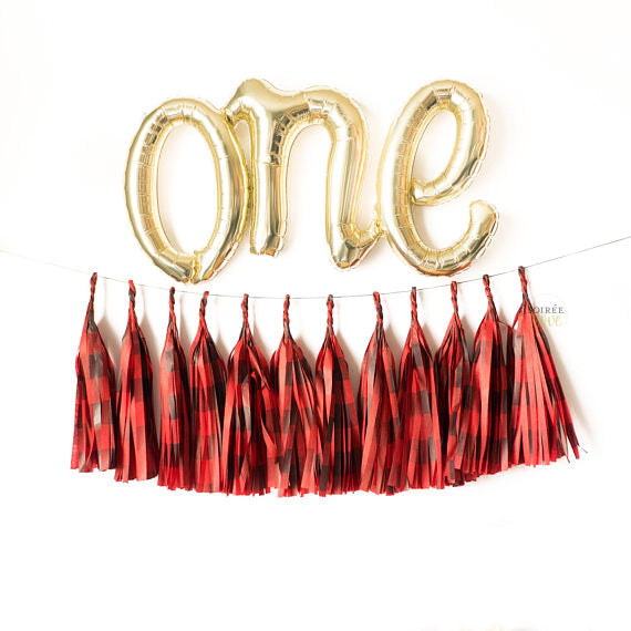 One Buffalo Plaid Balloon Tassel Garland