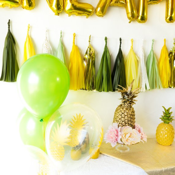 Party Like a Pineapple Balloon Tassel Party Box | Green