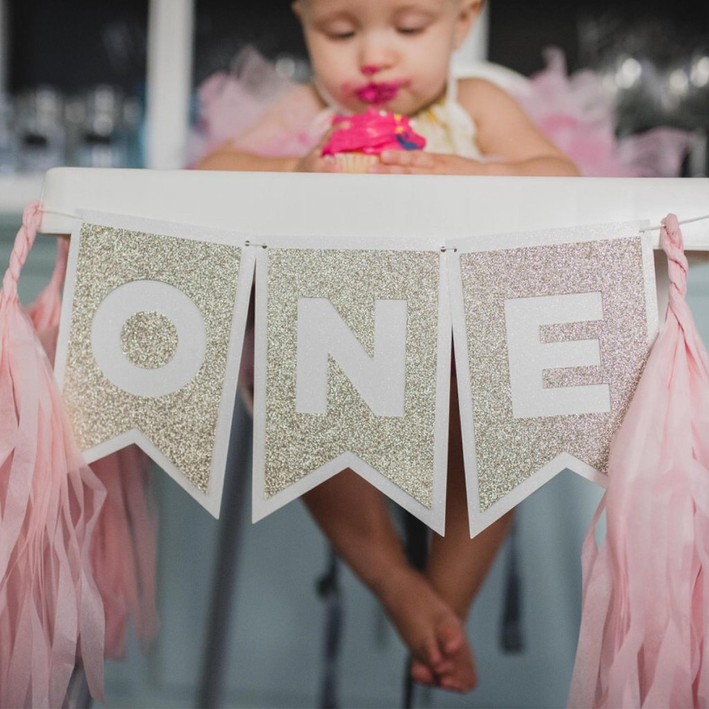 One Highchair Banner w/ Paper Tassels | Pink